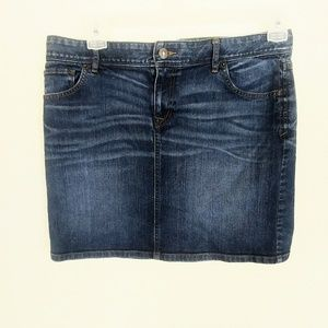 LOFT Sz 10 Stretchy Blue Jean Mini Skirt W/ Pocket